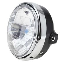 1pc Black Motorcycle Round Headlight Headlamp 7Inches 12V 35W Universal Clear Glass Lens Beam Lamp Light Car Accessories