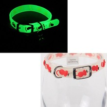 Pet Collar Luminous Adjustable Safety Collars 4 Pcs/lot Rubber Dog Glowing Neck Strap With Bell