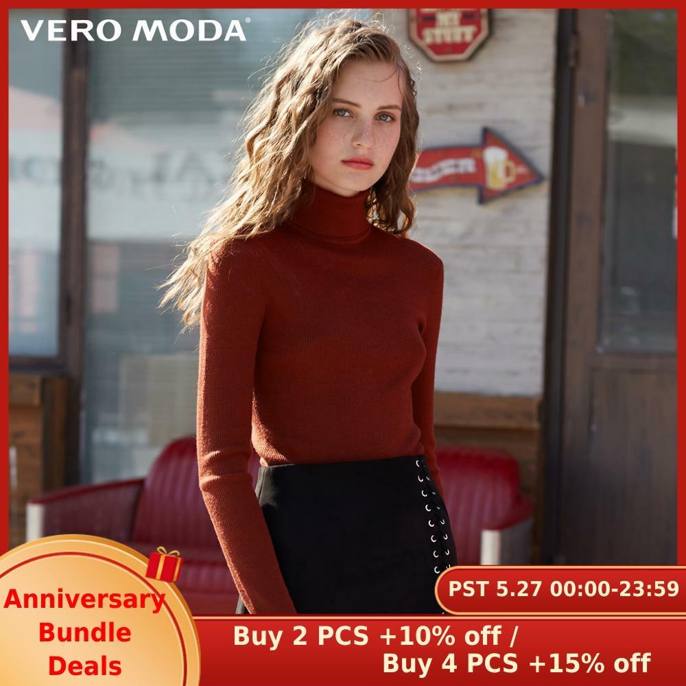 Vero Moda  Fall 100% Wool Slim Fit Knitted Base Turtleneck Knitted Sweater Women | 318324522