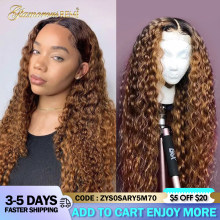 Ombre Curly Lace Front Human Hair Wigs With Baby Hair Brazilian Colored 4x4 Lace Closure Wig Pre-Plucked For Women Density 150