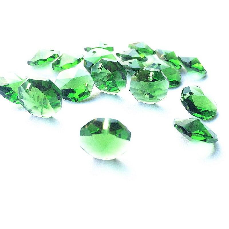 Высокое качество 20 шт./лот многоцветный 14 мм хрустальные Восьмиугольные бусины в одном отверстии K9 кристаллы части для люстры аксессуары DIY Свадебные и x-дерево украшения - Цвет: Green