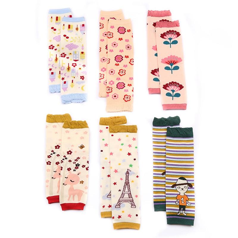 Baby Leg Warmers Girls Cartoon Soft Socks Toddler Cotton Crawling Knee Pads Newborn Floral Printing Kneecap Winter Korea Sock