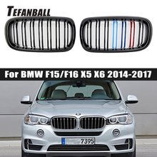 Pair Car Kidney Grill Gloss Black M Racing Grille For BMW F15/F16 X5 X6 2014 2015 2016 2017 Car Tuning Front Grills Accessories pair matte black m color front left right side kidney grille grill for bmw x5 f15 x6 f16 x5m f85 x6m f86 2014 2015 2016 2017