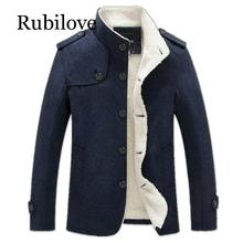 Rubilove Winter Men Coat Fashion Brand Clothing Fleece Lined Thick Warm Woolen Overcoat Mens Wool Blend