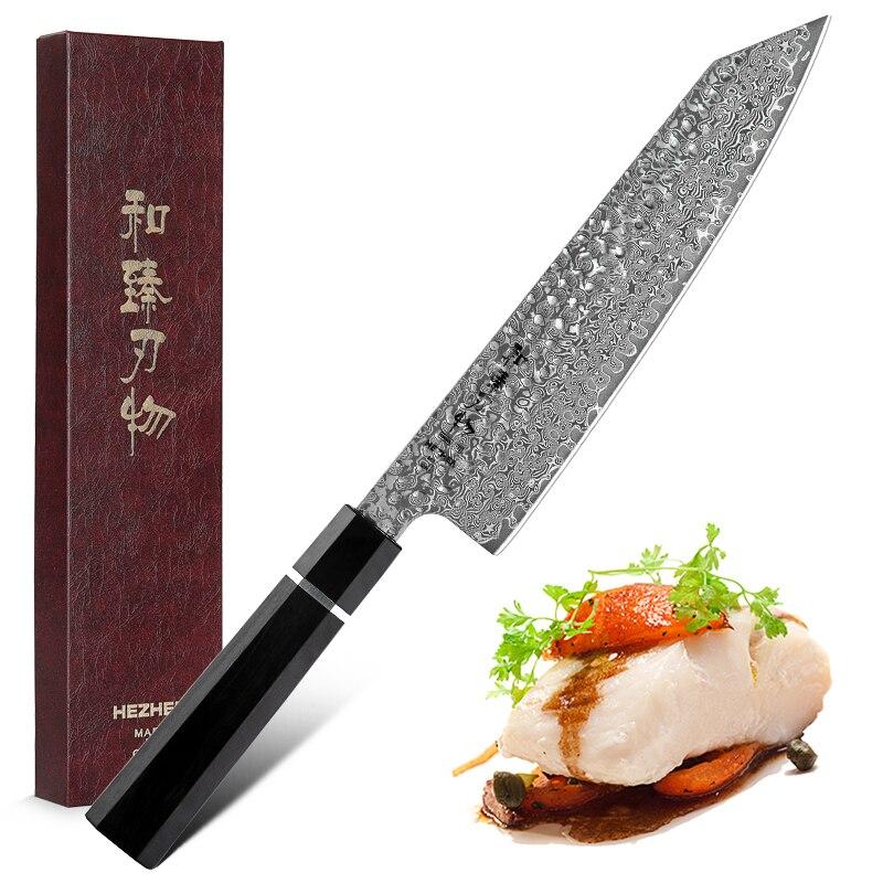HEZHEN 210 мм нож Gyuto в форме кирицукэ из высокоуглеродистой стали, кухонные ножи шеф-повара VG10, нож для мясника, инструменты для нарезки пищи