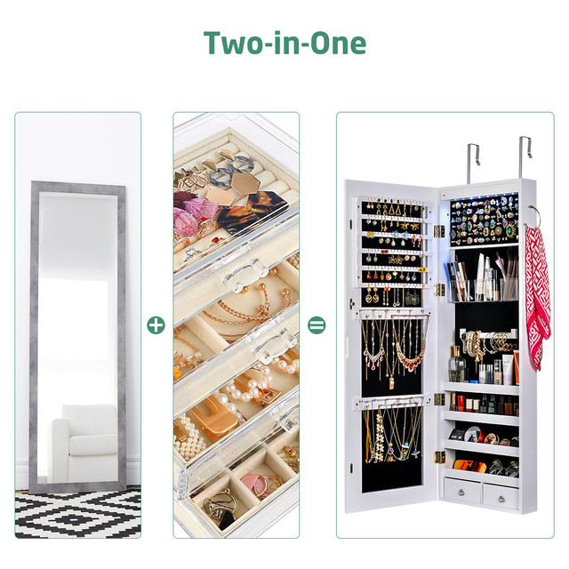 Wall Door Mounted Mirror Jewelry Box Organizer Wooden Makeup Cosmetic Drawer Container Storage Casket Earring Rings Necklace 2