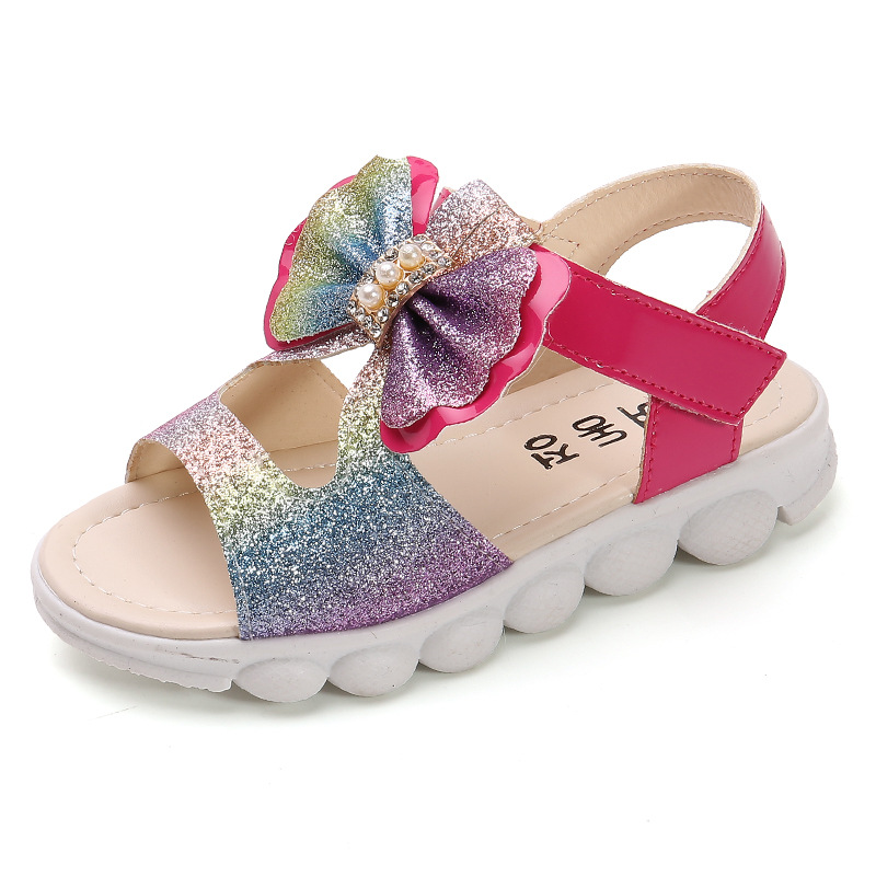 Sandals Girls Kids Baby Girl Summer Shoes 2020 Brand New Fashion Princess Soft Rubber Sole Children's Beach Shoes Sequined Bow