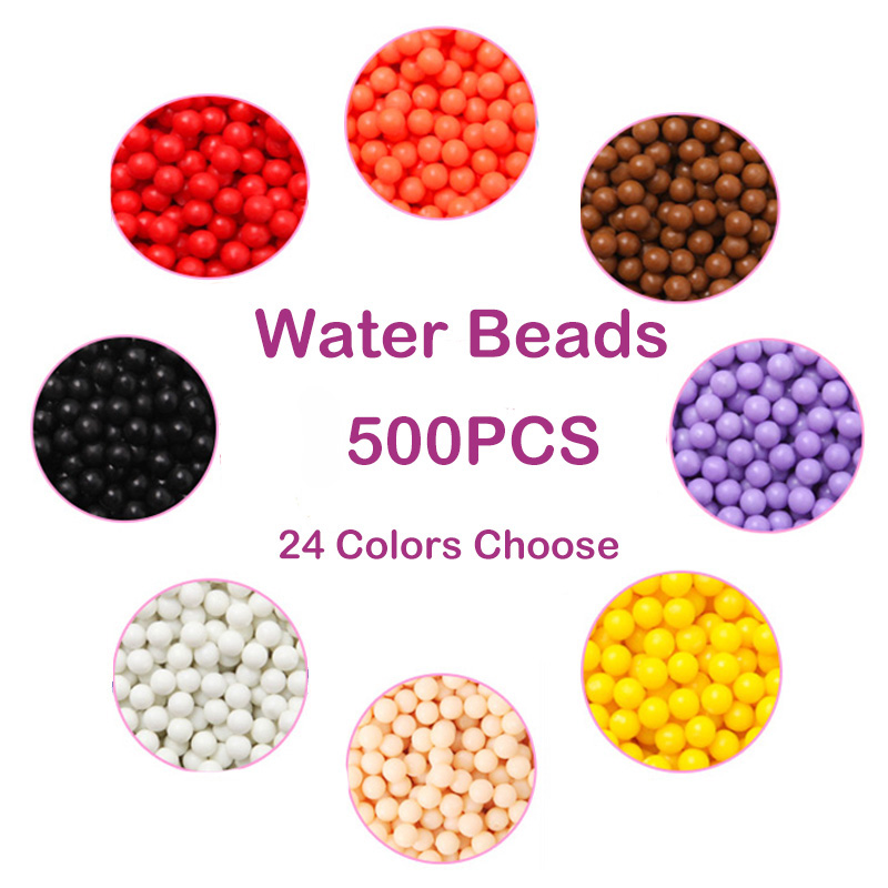 500 Pcs Water  Beads Puzzle 3d  DIY 24Colors Beads Water Spray Set Ball Games 3D Handmade Magic  Educational Toys