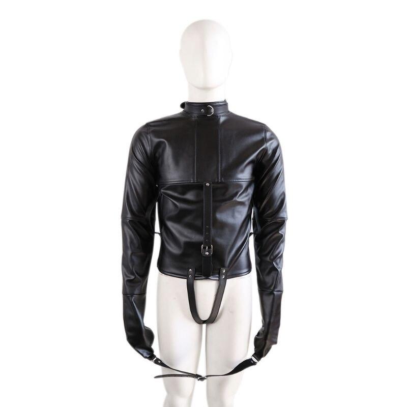 Faux Leather Straitjacket Bondage Jacket Fetish Costume Women Body Harness Provides Inescapable Retention