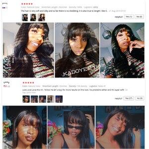 """Image 5 - Kadoyee frente do laço perucas de cabelo humano brasileiro remy cabelo 13x4 """"despedida peruca reta com franja 8"""" 26 """"preplucked 130% 150% densidade"""