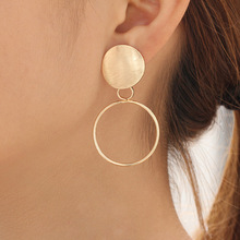 New simple popular matte earrings gold big circle geometric pearl female jewelry
