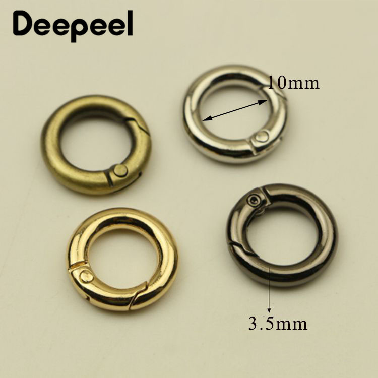 Deepeel10/20pcs 10mm Openable O Ring Buckles Keyring Leather Belt Strap Dog Chain Webbing Buckle Snap Clasp Clip DIY Accessories