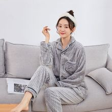 Women Pajama Sets 2020 Autumn Winter Flannel Warm Pyjamas Homewear Thick Sleepwear Female