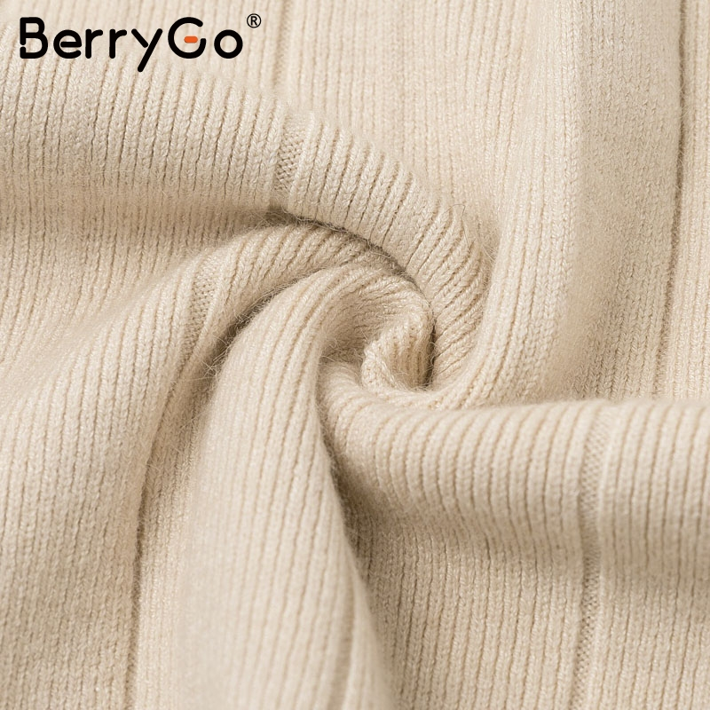 BerryGo Ruffle long sleeve knitted dress women V neck sashes female pleated dresses High waist luxury autumn winter office dress 14