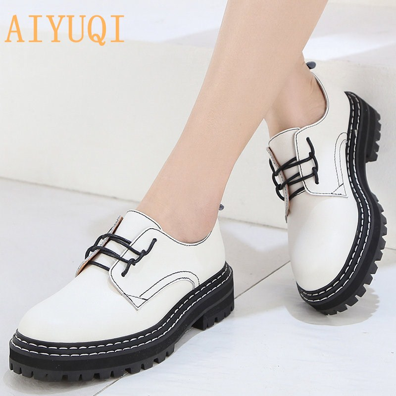 Retro Women Shoes Genuine Leather 2020 New Spring British Style Student Shoes Wild Thick Large Size 41 42 43 Ladies Oxford Shoes
