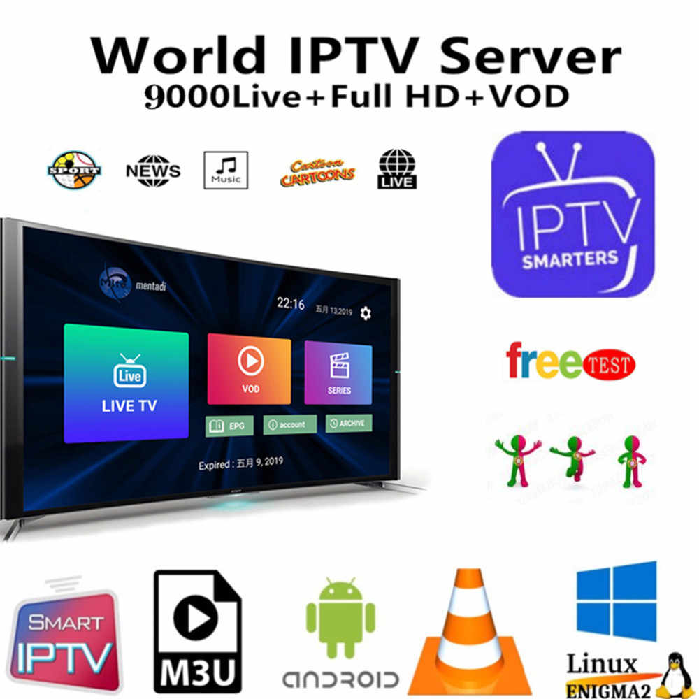 IPTV M3u Smarters pour Smart Androd tv box 9000 + français arabe UK allemagne USA IPTV abonnement H265 m3u Enigmas2 Smart tv