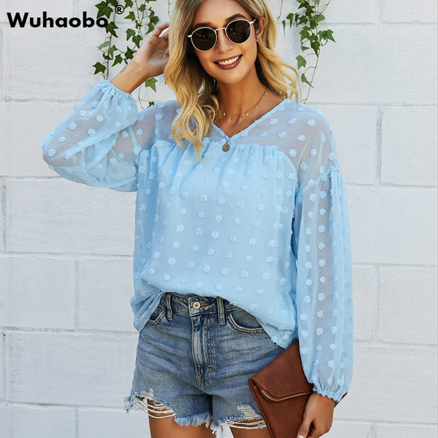 Wuhaobo Dot Grinding Edge Women Shirts Top 2021 Spring Autumn Fashion Long Sleeve V-Neck Loose Casual Blouses Streetwear 1