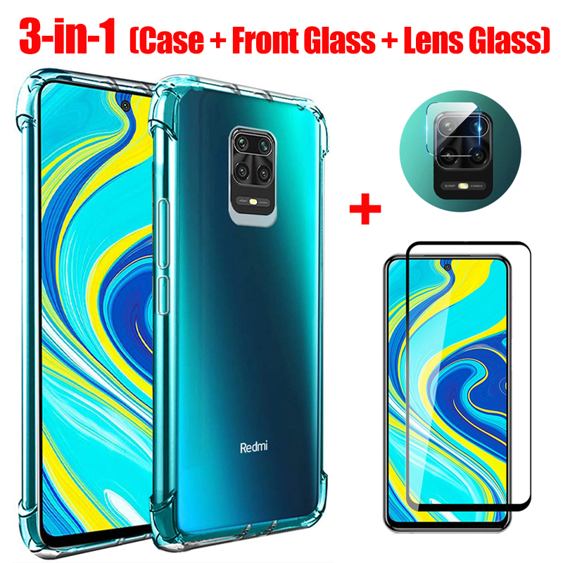 3-In-1 Glass + Case For Redmi Note 9S Case Soft Clear Shockproof Phone Cover For Xiaomi Redmi Note 9 Pro Max Note9s 9 S Case