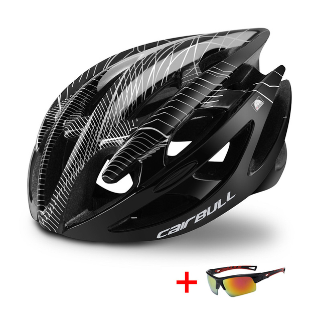 Trilha dh mtb capacete de bicicleta com óculos de sol ultraleve corrida ciclismo capacete das mulheres dos homens in-mold estrada da bicicleta de montanha capacete 3