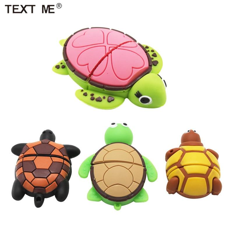 TEXT ME Cute Mini Cartoon Tortoise Model Usb Flash Drive Usb 2.0 4GB 8GB 16GB 32GB 64GB Pen Drive