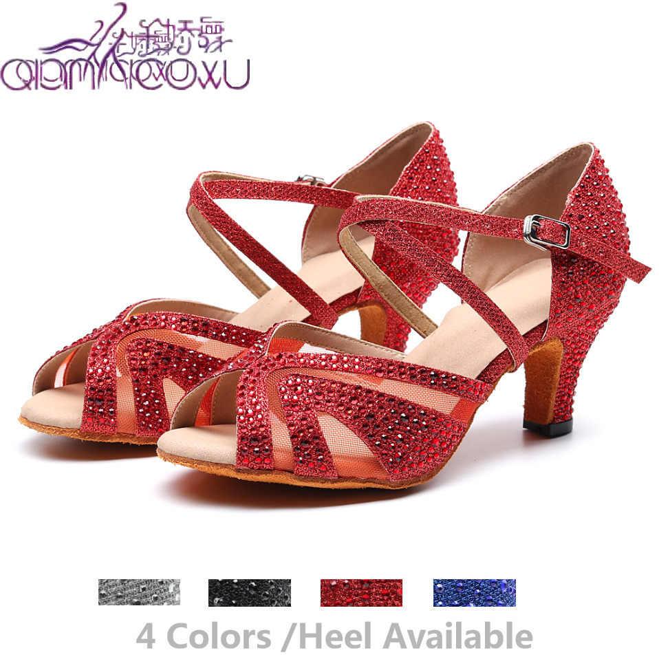 Parti Salsa caz balo salonu Latin dans ayakkabıları dans kadın artı boyutu çek kadın Latina yüksek topuklu 1025 yaz sandalet