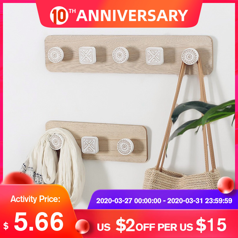 Nordic Wood Coat Hanger Wall Hook Home Decorative Clothes Hangers Key Holder Wall Mounted Coat Rack Key Hanger Wall Shelf