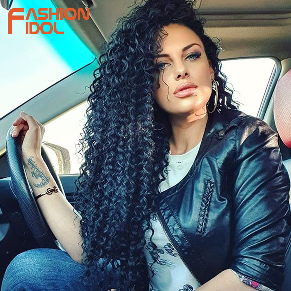 FASHION IDOL Afro Kinky Curly Hair Bundles Synthetic Hair Extensions Nature Color 6 Bundles 16-20inch 250g Kinky Curly Bundles