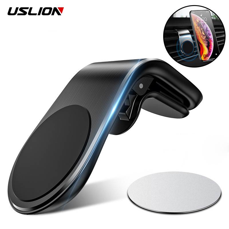 USLION Magnetic Car Phone Holder For IPhone Samsung Xiaomi Huawei 360 In Car GPS Mount Holder Air Vent Magnet Stand Holder