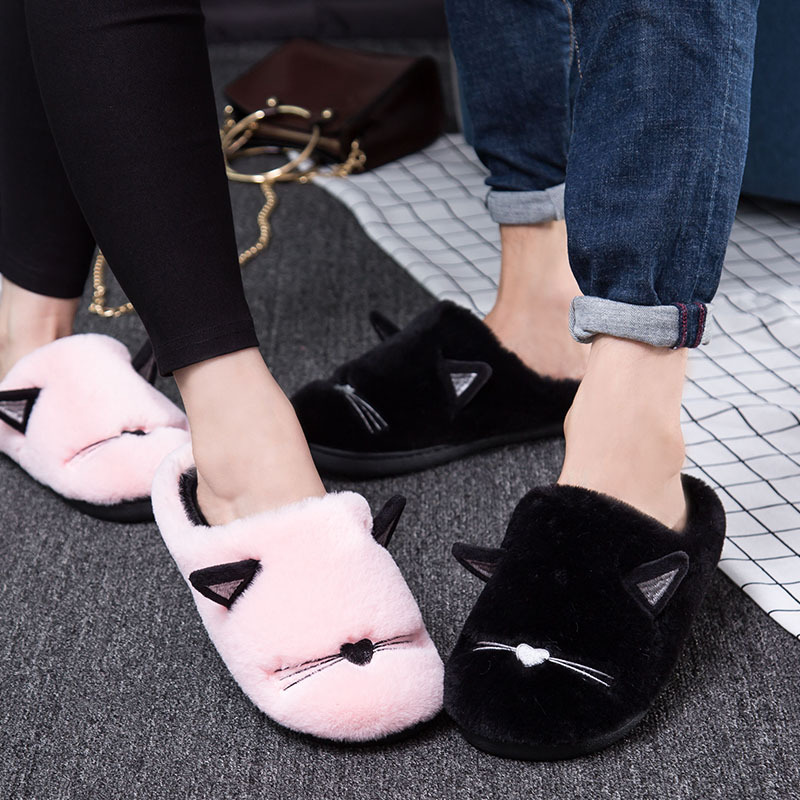 Ladies Slippers Furry Shoes Flat Fluffy Slippers 2019 Winter Warm Shoe
