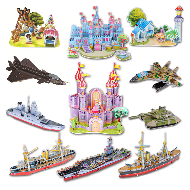 Attractive Cartoon Castle Garden Zoo Princess House 3D Puzzle Interesting Learning Educational Building Toy Fortoys For Children