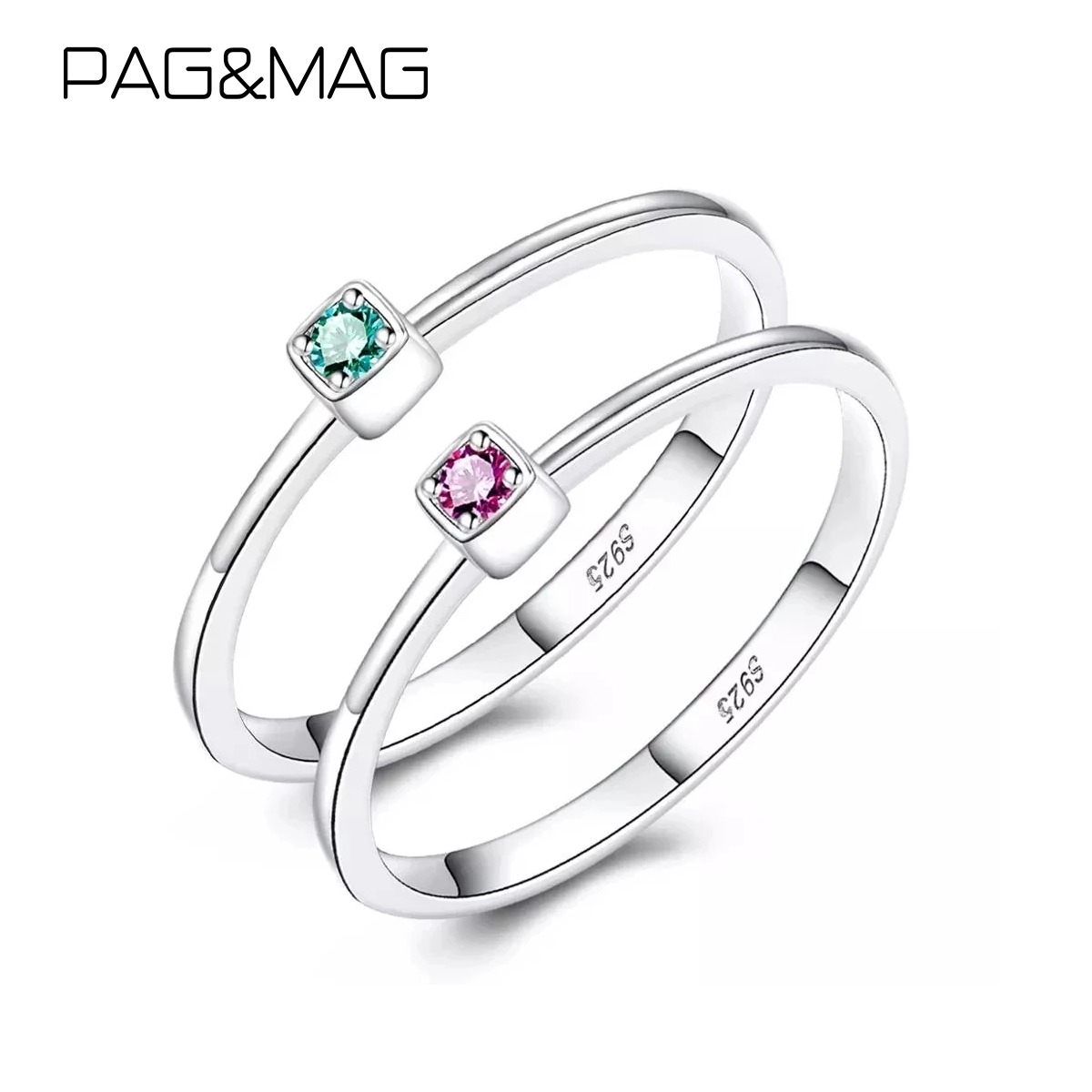 PAG&MAG Real 925 Sterling Silver Ring Gree Red Topaz Rings For Women Gemstone Engagement Rings Silver 925 Jewelry Anillos Mujer