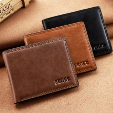FEGER Brand Men Wallets genuine Leather Purse Solid Short Card Holder Wallet for Gentlemen Free Shipping