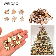 WEIGAO 100pcs Christmas Tree Decorations Mini Wooden Ornaments Snowflake Tree Xmas Party Pendants Decoration for Home New Year