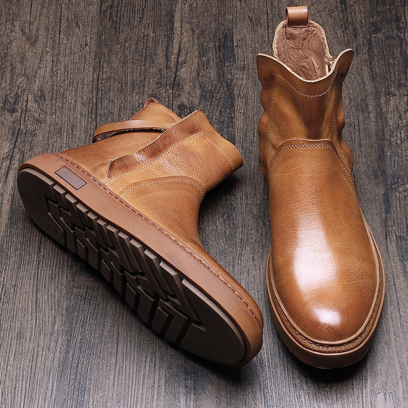 Vintage Brand New Mens Real Leather Patchowork Zip Chelsea Boots British Round Toe Casual High Top Flat Boots Zapatos De Hombre