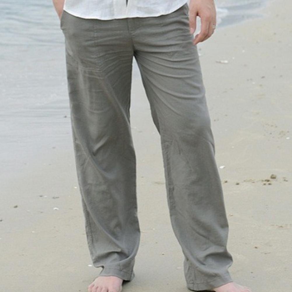 Plus Size Men Cotton Linen Long Pants Elastic Waist Loose Straight Trousers