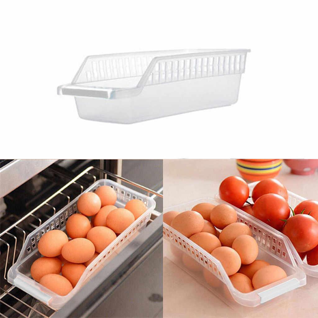 Pretty Kitchen Refrigerator Space Saver Wear-resistant Organizer Slide Shelf Rack Rack Food Safe Plastic Holder Storage
