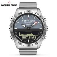 Homens Dive Sports Digital relógio Mens Relógios Militar Do Exército de Luxo de Aço Completo Negócio À Prova D 'Água 100 m Altímetro Bússola North Edge Relógios esportivos     -