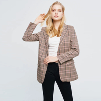 Women's pink plaid long sleeve lady style Single button jacket casual coat female blazer woman outerwear