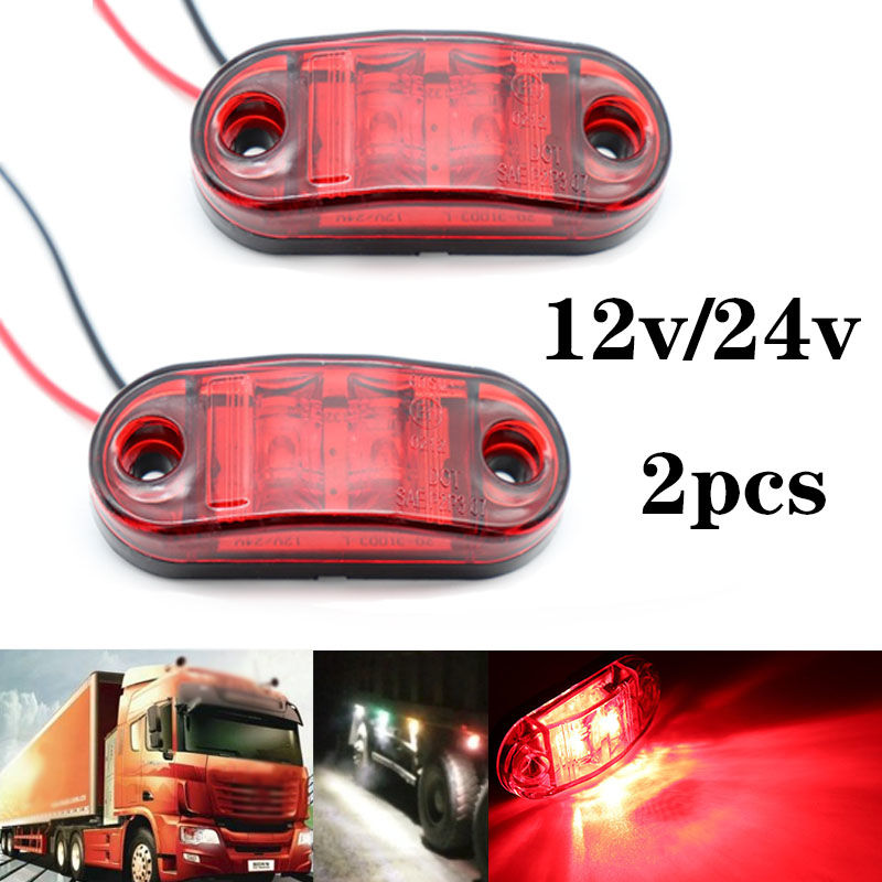 2Pcs 12V / 24V LED Side Marker Lights Car External Lights Warning Tail Light Auto Trailer Truck Lorry Lamps Red Color