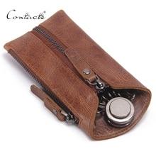 CONTACTS Vintage Genuine Leather Key Wallet Women Keychain Covers Zipper Key Case Bag Men Key Holder Housekeeper Keys Organizer