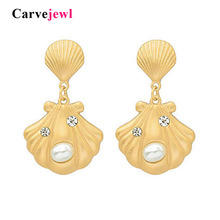Carvejewl unique shell drop dangle earrings metal shell simulated pearl earrings for women jewelry new fashion Korean earrings цена и фото