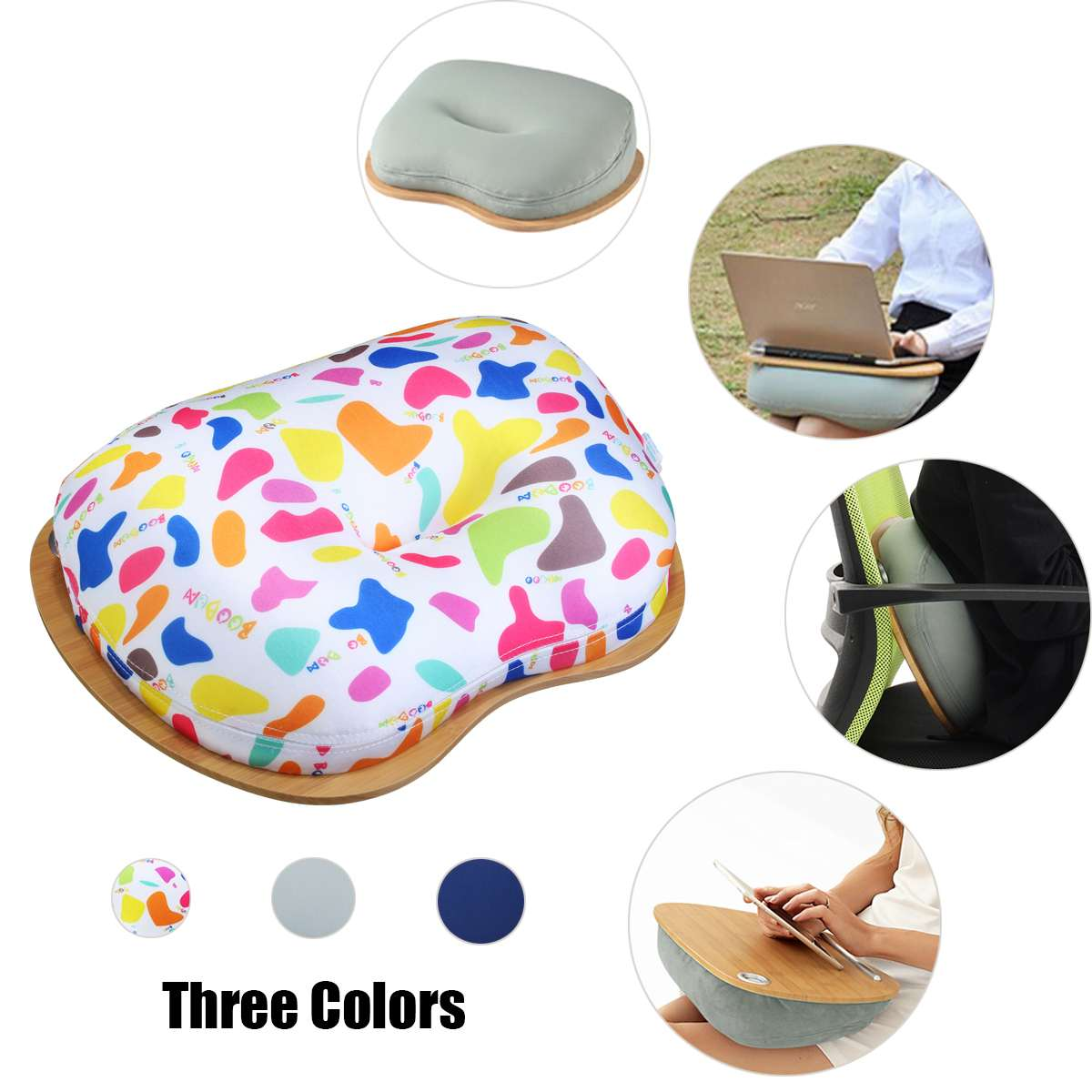 Multifunction Laptop Tray Stand Pillow Knee Wooden Table Bed Holder Portable Laptop Desk For Notebook Outdoor Headrest Office