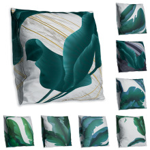 Green banana leaf double-sided printed pillow pillowcase geometric sofa cushion cover Funda de almohada наволочка kussensloop