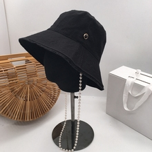 2019 the spring and autumn period and the European and American cotton fashionable joker fisherman hat pearl chain han edition b