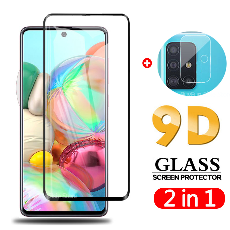2 in 1 9D Camera Glass For Samsung Galaxy A51 Tempered Glass Back Camera Protector on Samsun A 51 6.