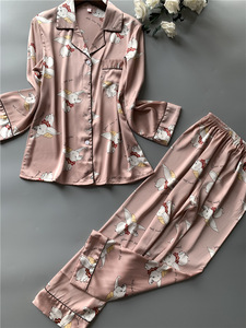 Image 2 - Printing Fashion Women Pajamas Sweeet Long Sleeve Cardigan Twinset Sleepwear