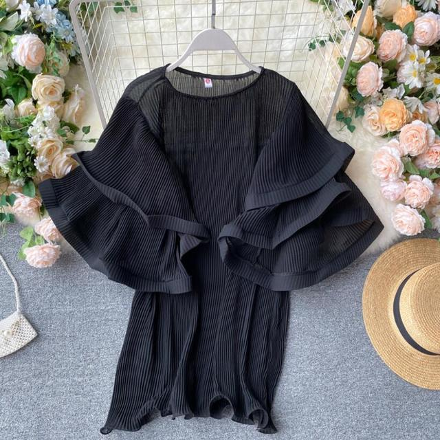 2020 Summer O-Neck Women Ruffles Chiffon Blouse Female Flare Sleeve Shirt Ladies Shirts Solid Color Women Tops And Blouses 3