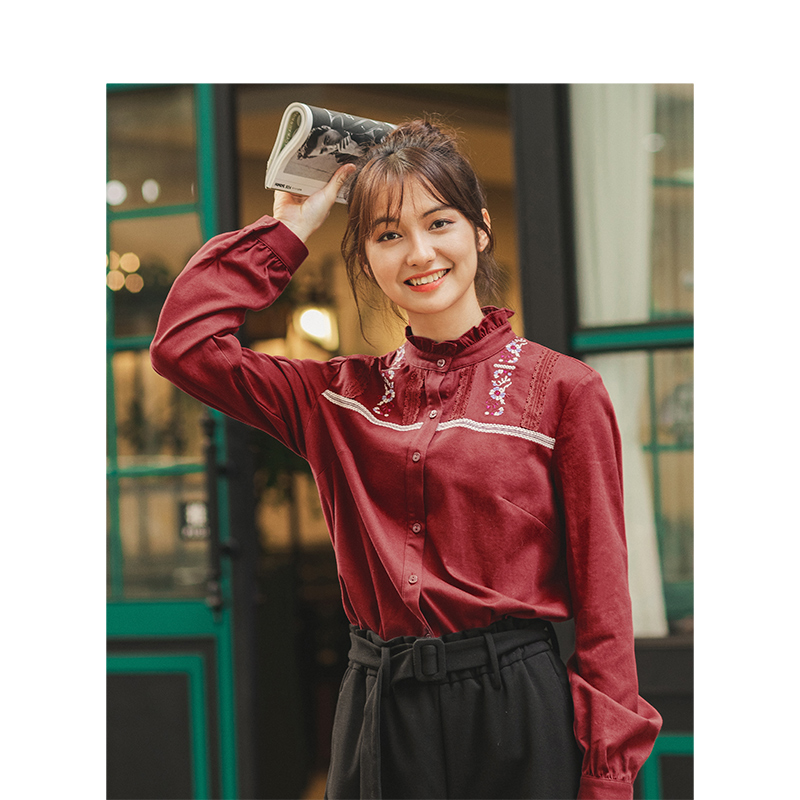 INMAN 2019 Autumn Winter New Arrival 100%Cotton Lace Stand Up Collar Embroidery Literary All Matched Women Blouse