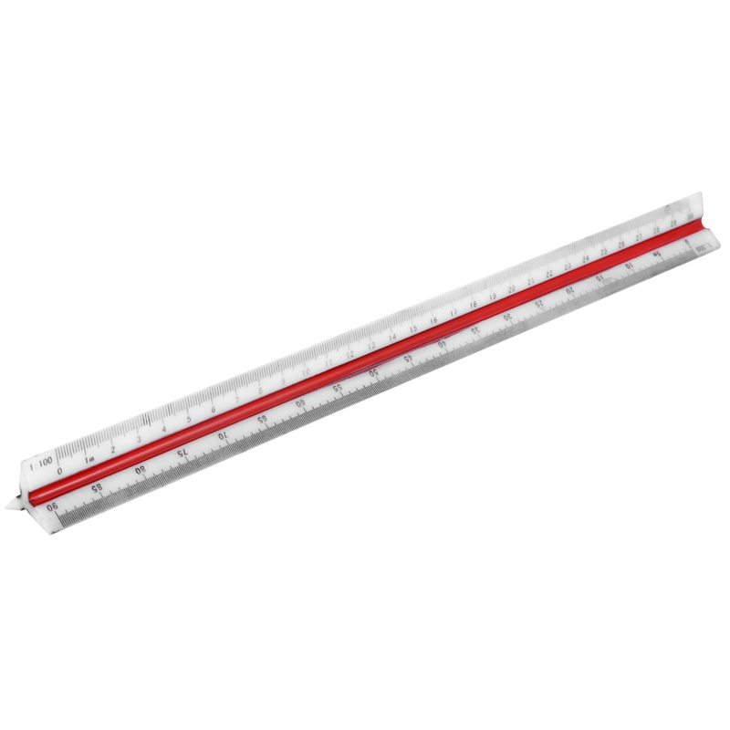 Plastic Red Yellow Green Triangular Scale Ruler 1:100 1:200 1:250 1:300 1:400
