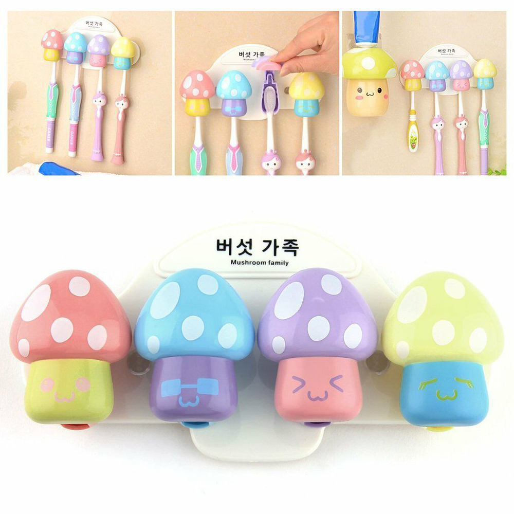 4Pcs/lot Colorful Cartoon Mushroom Toothbrush Holder Bathroom Kitchen Suction Cup Acuum Sucker Wall Stand image
